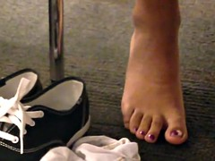 Candid Sexy Indian Feet Socks Off at Library