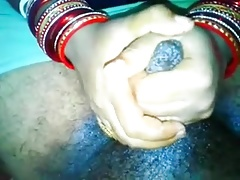 Desi wife hubby's bushwa masage plus handjob in the matter of cumshot