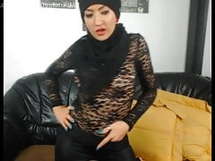 Islamic middle-eastern girls in leather charm dance
