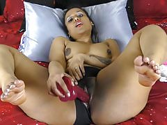 Indian Alongside Big Pain in the neck With the addition of Thighs Distress Pussy Alongside Dildos
