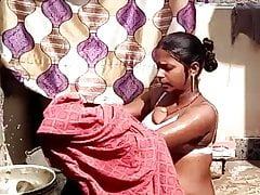 Pregnant Desi Indian Village girl Bathing outdoor